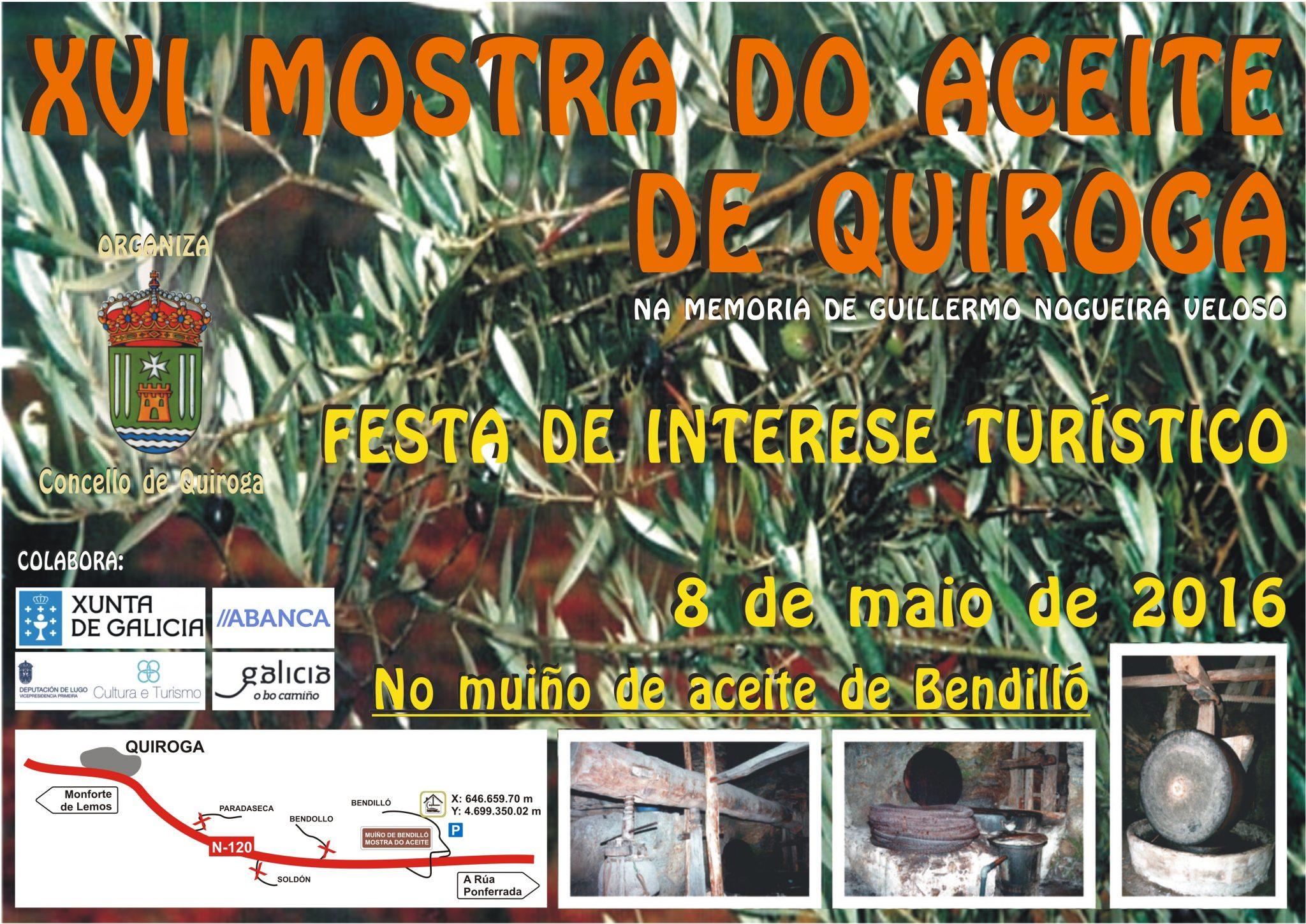 Cartel de la XVI Muestra del aceite de Quiroga en el molino de Bendilló