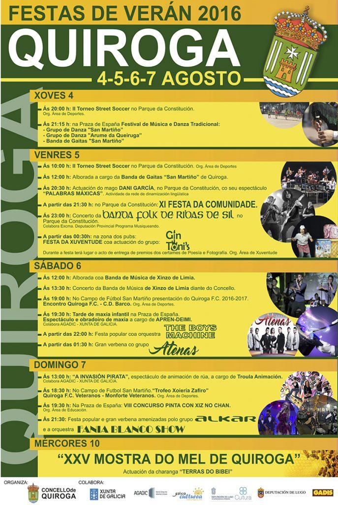 Programa de las Fiestas de verano de Quiroga 2016