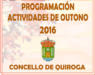 Anuncio do Programa de actividades Quiroga: outono 2016