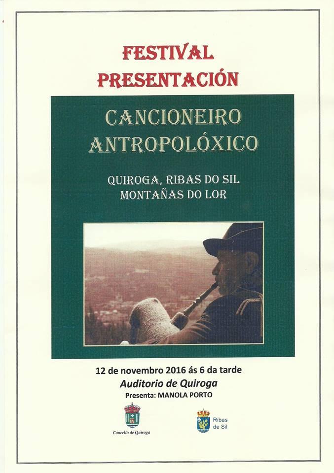 """Cartel de la presentación del libro """"Cancionero Antropolóxico"""""""
