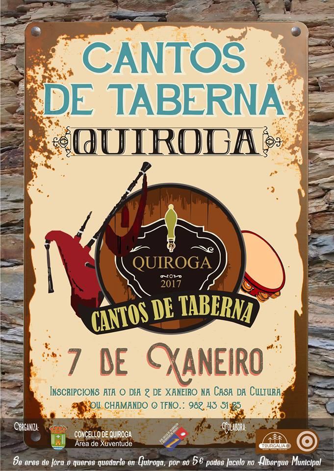 Cartel del II «Cantos de Taberna» en el Ayuntamiento de Quiroga