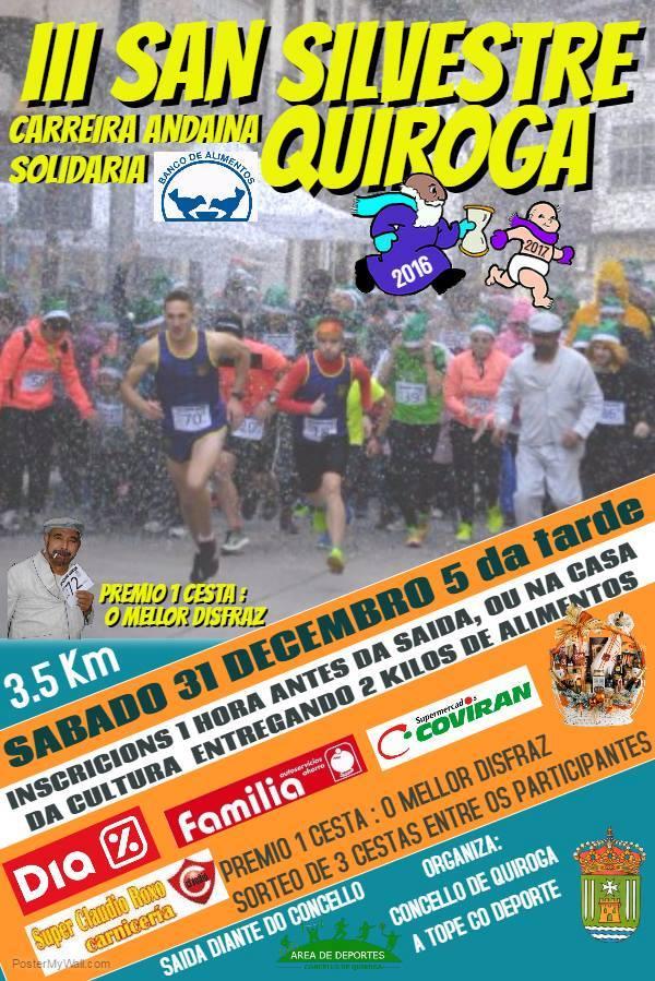 Cartel de la III edición de la San Silvestre en Quiroga