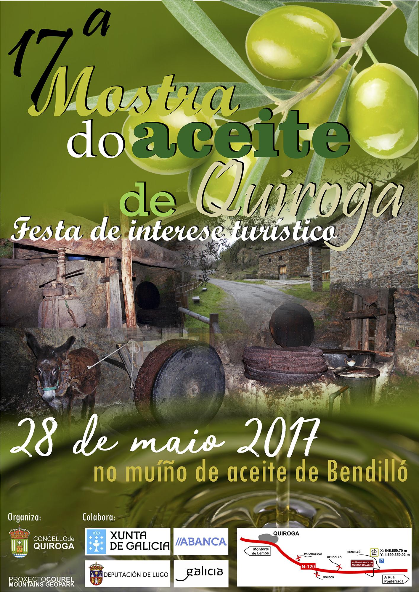 Cartel de la 17ª Muestra del aceite de Quiroga en el molino de Bendilló
