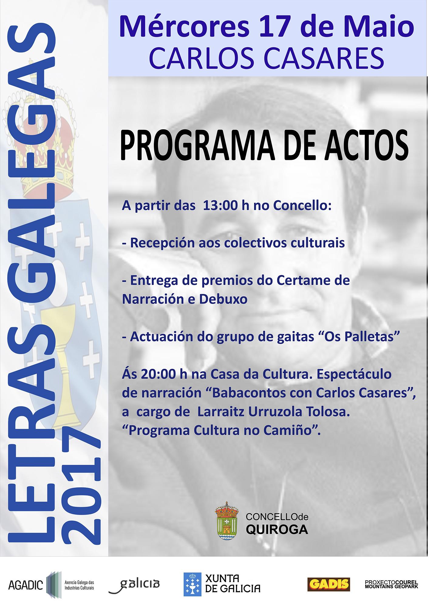 Cartel do Día das Letras Galegas 2017 en Quiroga