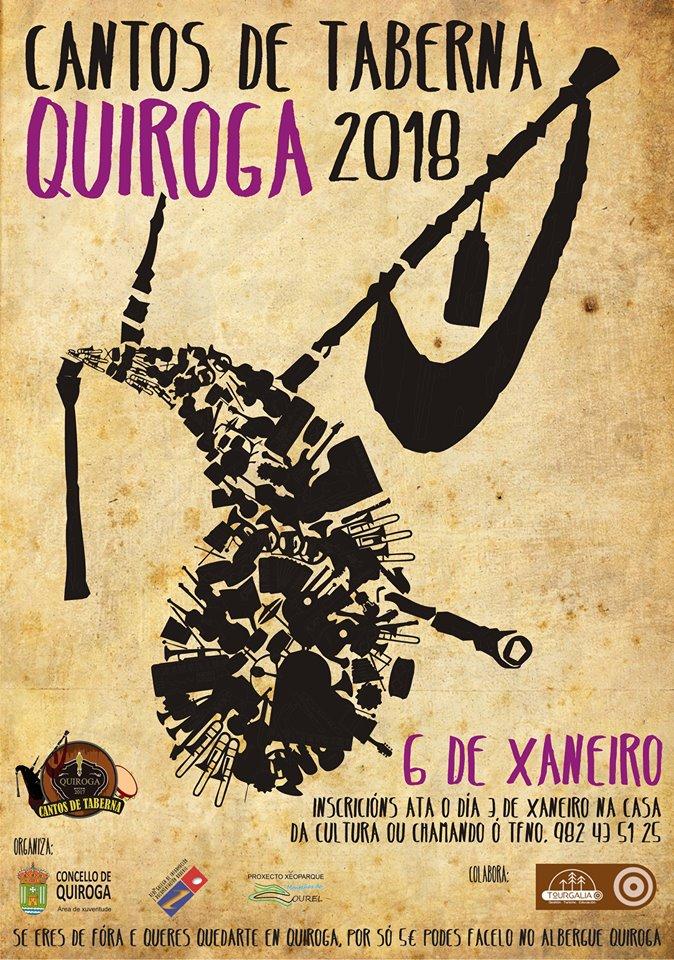 Cartel de la III edición de los «Cantos de Taberna» Quiroga en el Ayuntamiento de Quiroga 2018