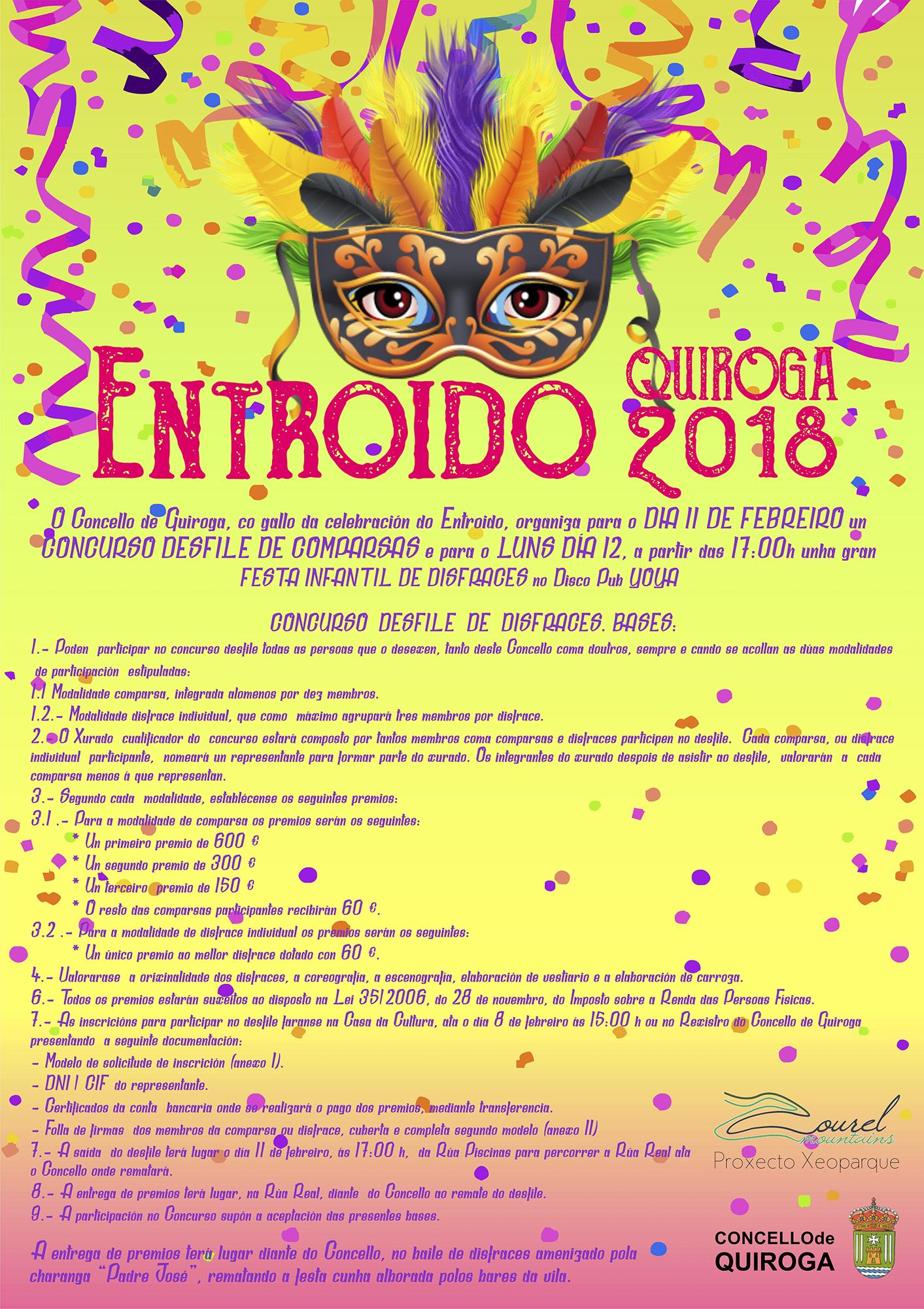 Cartel do Entroido no Concello de Quiroga para o ano 2018