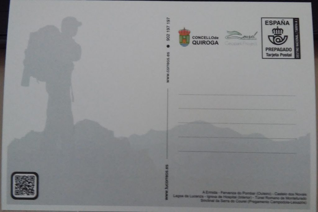 Reverso da postal promocional de Quiroga