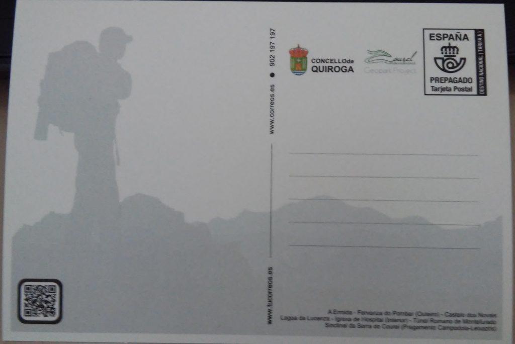Reverso de la postal promocional de Quiroga