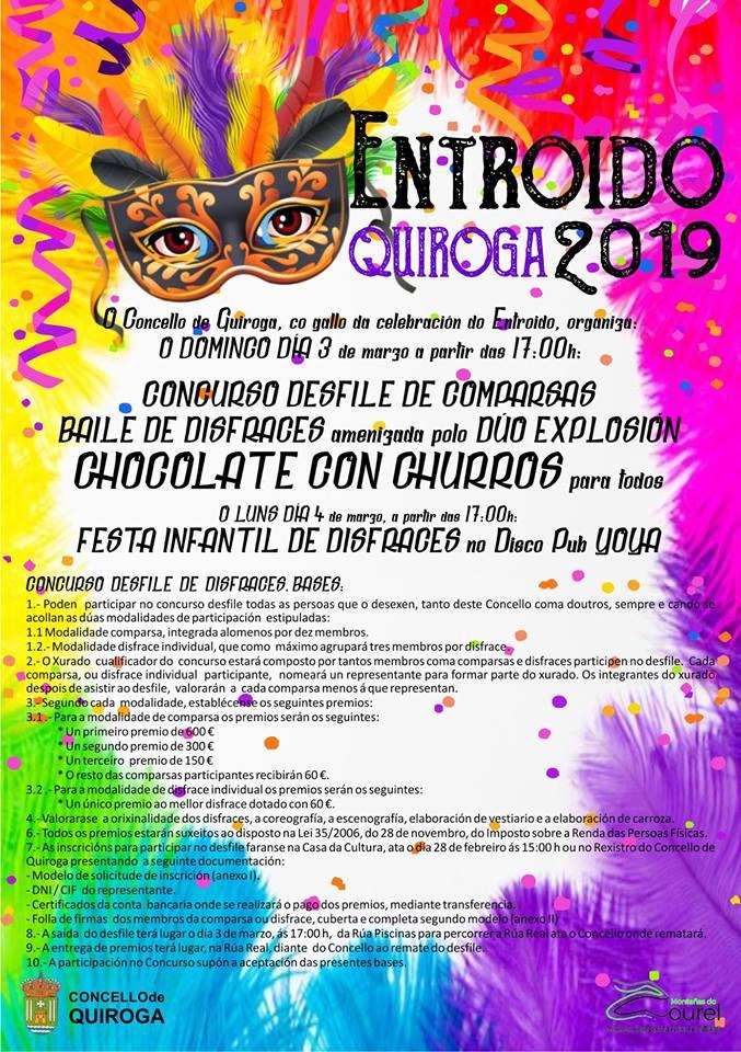 Cartel do Entroido 2019 no Concello de Quiroga