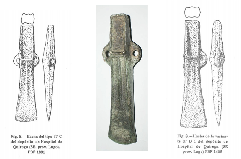 Machetes de bronce procedentes de la zona de O Castro de Barreiro entre Carballo de O Hospital y Campos de Vila
